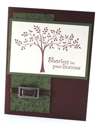Sharing in your sorrow handstamped card