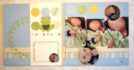 Delicate Dots DSP & Frog Scrapbook Page