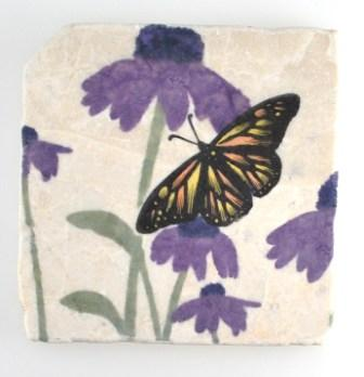 butterfly & purple flower coasters