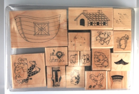 Noah and his Ark – set of 16 - $35.00 (old, very hard to find set Stampin' Up! stamp set in very good condition)