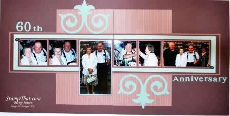 Th wedding anniversary scrapbook page with big shot decorative