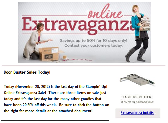 SU! Online Extravaganza Sale . . . Ends Today!