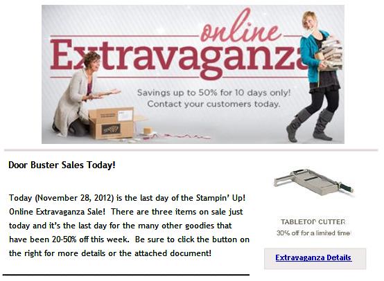 SU! Online Extravaganza Sale . . . Ends Today!
