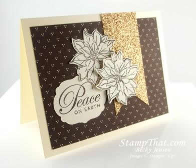 Poinsettia Peace on Earth Christmas Card