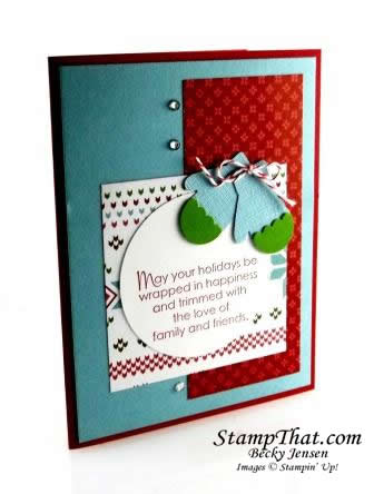 Stampin' Up! Mittens Punch Christmas Card
