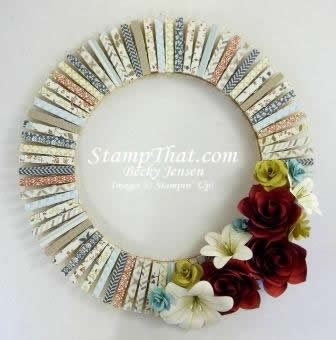 Handmade home decor wreath card stock flowers comfort for Handmade items for home