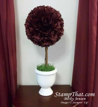 topiary with handmade paper roses