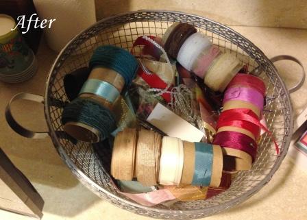 basket of ribbon scraps