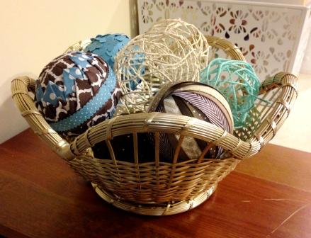 handmade ball is basket decor
