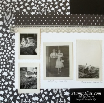 Black and white scrapbook layout