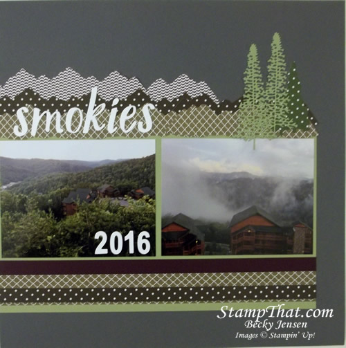 Stampin' Up! Majestic Mountain Dies on Scrapbook Layout