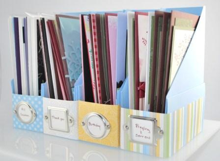 Handstamped card storage
