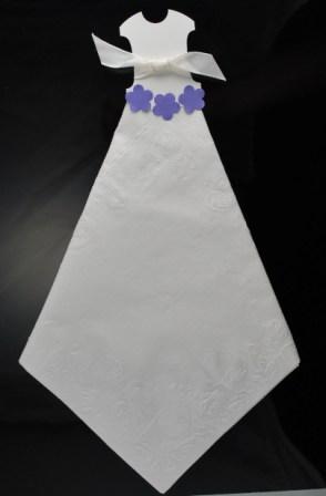 wedding dress napkin with purple flowers
