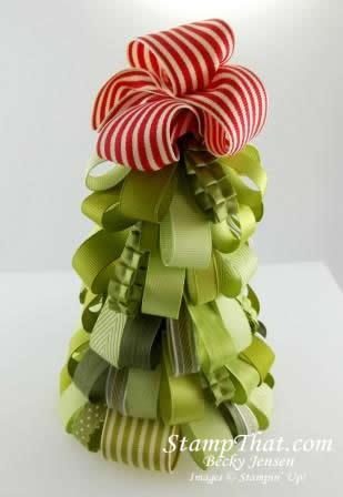 Christmas tree made of ribbon