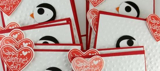 Handmade Penguin Valentine Cards